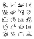 Finance, payments and money line vector icons set Stock Photo