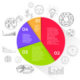 Finance Pie Diagram Circle Infographic with. Financial Business Hand Draw sketch Graph Chart Set Vector Illustration Stock Photos