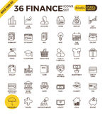 Finance pixel perfect outline icons Royalty Free Stock Photos