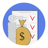 Finance plan icon. Checklist and management, sack bag money. Vector illustration Royalty Free Stock Photos