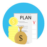 Finance plan icon. Efficiency and check, development financial concept, vector illustration Royalty Free Stock Images