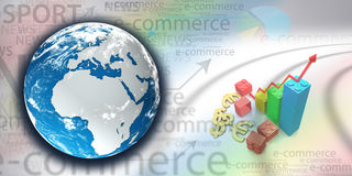 Finance poster. E-commerce background. new globe finance background Stock Photography