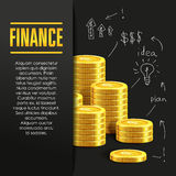 Finance poster or banner design template with golden coins. Royalty Free Stock Photos