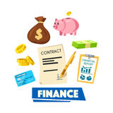 Finance poster with money, banking card and report. Finance poster. Money bundle, coin, credit banking card, money bag, piggy bank, financial report and signed Stock Image