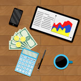 Finance process planning budget. Vector workplace with report statistic illustration Royalty Free Stock Images
