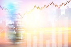 Finance, profit, capital banking and investment concept, Double. Exporsure stacked of coins and night city with graph Stock Photography