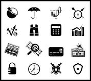 Finance protection icon set. Isolated on white Royalty Free Stock Images