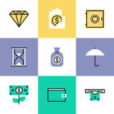 Finance and protection pictogram icons set. Financial insurance, money savings and protection, business capital growth, bank account and banking deposit. Unusual Stock Photo