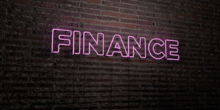FINANCE -Realistic Neon Sign on Brick Wall background - 3D rendered royalty free stock image Royalty Free Stock Images