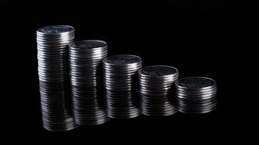 Finance reflection and business profit. Metal coins. Finance  reflection. Business profit. Metal coins Stock Image