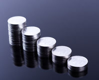 Finance reflection and business profit. Metal coins. Finance  reflection. Business profit. Metal coins Stock Photo