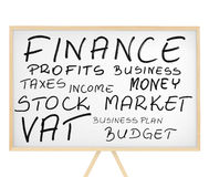 Finance related words cloud on magnetic board Royalty Free Stock Photos