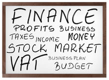 Finance related words on white board Stock Images