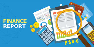 Finance report and financial analysis. Vector illustration Stock Images
