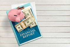 Finance. Report financial report Plan Piggy Bank Home s Isolated royalty free stock images