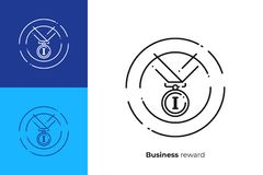 First place medal for winner line art vector icon. Finance reward line art icon, business success vector art, outline digital champion illustration Royalty Free Stock Photography