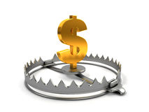 Finance risk concept. Sign dollar on bear trap Stock Photos