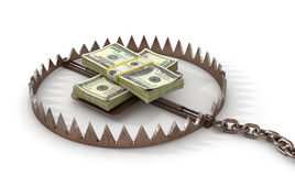 Finance risk concept. Money on bear trap. Stock Photos