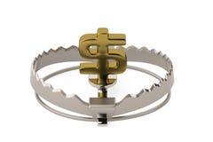 Finance risk concept sign dollar on bear trap,3D illustration. Finance risk concept sign dollar on bear trap 3D illustration Stock Photography