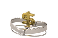 Finance risk concept sign dollar on bear trap,3D illustration. Royalty Free Stock Images