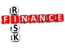 Finance Risk Crossword. 3D Finance Risk Crossword on white background Stock Image