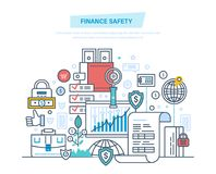 Finance safety, security, online banking, data protection, payment, safe deposits. Finance safety, security of bank, online banking, data protection, payment Royalty Free Stock Photography