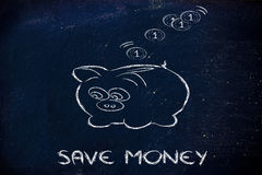Finance and saving money, funny piggy bank. Money savings, coins dropping inside piggy bank Stock Image