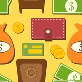 Finance seamless pattern with objects in flat Stock Photography