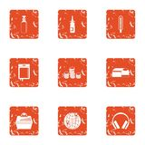 Finance sector icons set, grunge style. Finance sector icons set. Grunge set of 9 finance sector vector icons for web isolated on white background Royalty Free Stock Image
