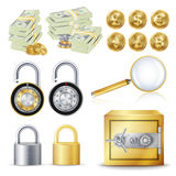 Finance Secure Concept Vector.. Gold Coins, Money Banknotes Stacks, Encryption Padlock, Safe, Magnifying Glass. Dollar, Euro, GBP, Bitcoin Litecoin Etherum Stock Photos