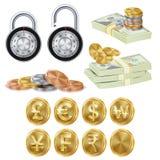 Finance Secure Concept Vector. Gold Metal Coins. Money Banknotes Stacks, Encryption Padlock. Dollar, Euro, GBP, Rupee, Franc Renminbi Yuan Won Stock Images
