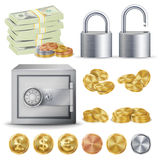 Finance Secure Concept Vector. Gold, Silver, Copper Metal Coins Blank, Money Banknotes Stacks, Padlock, Safe. Dollar, Euro GBP Business Investment Stock Photo