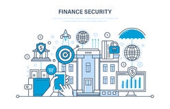 Finance secure, payment security, protection, cash deposits, analysis of finance. Finance security and payment secure, insurance, protection, cash deposits Stock Photos