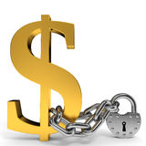 Finance security concept. Sign dollar chain and padlock. Finance security concept. 3D illustration Stock Photo