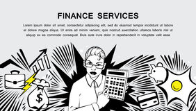 Finance services - retro comic style banner. Comic style design concept of finance services, business, money . Modern retro comis style illustration for web Royalty Free Stock Photos