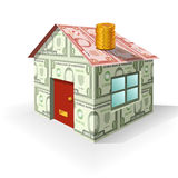 Finance - set 1 - House of Money. Vector illustration of house made from money as a concept on property value Royalty Free Stock Photography