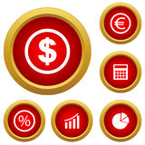 Finance set icon. Red finance set icon on a white background. Vector illustration Stock Photos