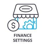 Finance settings thin line icon, sign, symbol, illustation, linear concept, vector. Finance settings thin line icon, sign, symbol, illustation, linear concept Stock Image