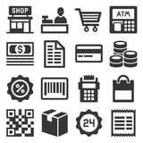 Finance and Shopping Icons Set. Vector. Illustration Royalty Free Stock Photos