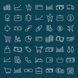 Finance, shopping, market line icons set on blue background. Finance, shopping, market thin line icons set on blue background Stock Photography