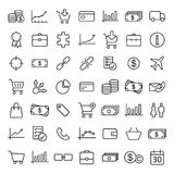 Finance, shopping, market thin line icons set. On white background Royalty Free Stock Photos