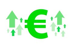 Finance Sign with Arrows Up High Cost of Living. Illustrative green euro sign with a arrows in finance concept, focusing the increase and high cost of living Stock Photos