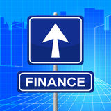 Finance Sign Means Finances Financial And Signboard. Finance Sign Representing Profit Pointing And Arrow Stock Photography