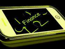 Finance Smartphone Means Credit And Loan Money. Finance Smartphone Meaning Credit And Loan Money Stock Images