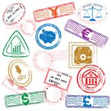 Finance Stamps Icon Set Stock Photos