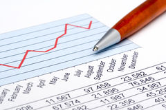 Finance Statistic 3. Analyzing financial form data pencil Stock Photo