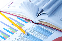 Finance Statistical graphs and notebook Royalty Free Stock Photos