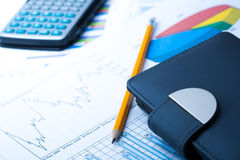 Finance Statistical graphs and notebook Stock Images