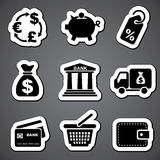 Finance sticker  label. Set  black and white icons for commerce and finance Stock Photo