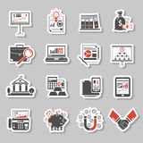 Finance Sticker Set. Finance analysis and money investment paper sticker set isolated vector illustration Royalty Free Stock Image